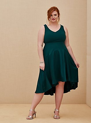 Special Occasion Green Scuba Knit & Satin Hi-Lo Gown , BOTANICAL GARDEN, hi-res