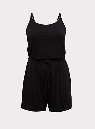 Black Jersey Drawstring Romper, DEEP BLACK, flat