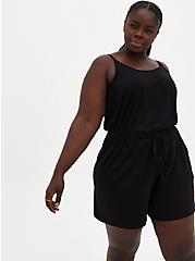 Black Jersey Drawstring Romper, DEEP BLACK, hi-res
