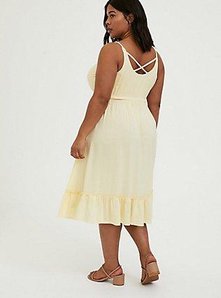 Light Yellow Challis Tie Shirred Hem Midi Dress, MILLENNIAL YELLOW, alternate
