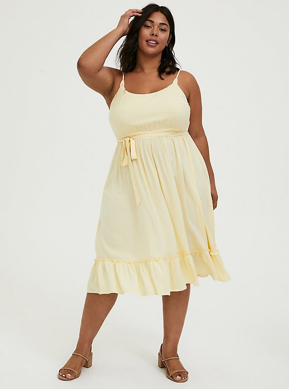 Light Yellow Challis Tie Shirred Hem Midi Dress, , hi-res