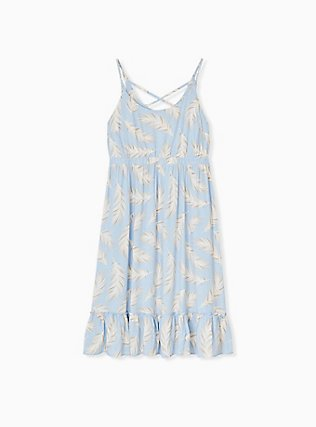 Light Blue Feather Challis Tie Midi Dress, FEATHER BLUE, flat