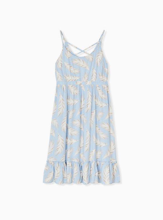 Plus Size Light Blue Feather Challis Tie Midi Dress, FEATHER BLUE, ls