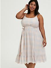 Light Pink & Blue Plaid Challis Tie Shirred Midi Dress, PLAID-BLUSH, alternate