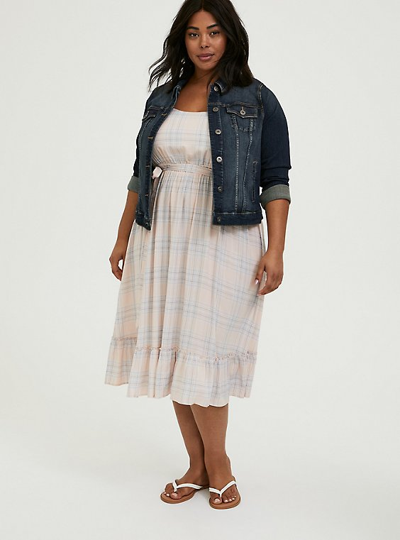Plus Size Light Pink & Blue Plaid Challis Tie Shirred Midi Dress, , hi-res