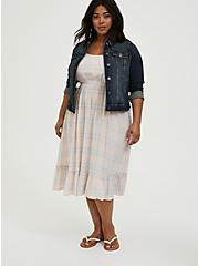 Light Pink & Blue Plaid Challis Tie Shirred Midi Dress, PLAID-BLUSH, hi-res