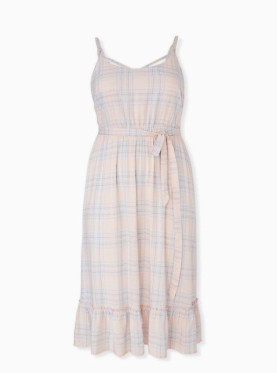Plus Size Light Pink & Blue Plaid Challis Tie Shirred Midi Dress, PLAID-BLUSH, ls