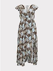 Dark Taupe & Blue Floral Crinkled Gauze Walkthrough Romper, FLORALS-MINT, hi-res