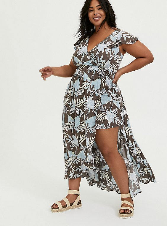Dark Taupe & Blue Floral Crinkled Gauze Walkthrough Romper, , hi-res