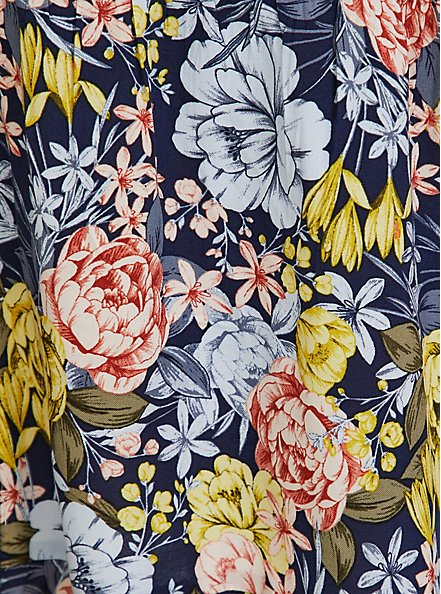 Navy Mixed Floral Challis Button Maxi Dress, FLORALS-NAVY, alternate