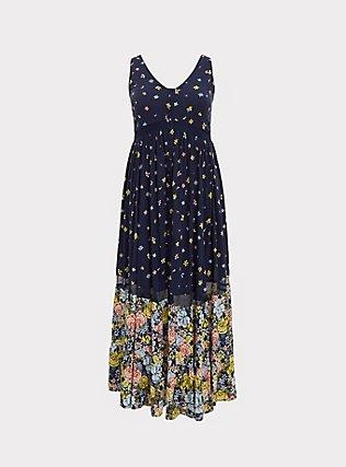 Navy Mixed Floral Challis Button Maxi Dress, FLORALS-NAVY, flat