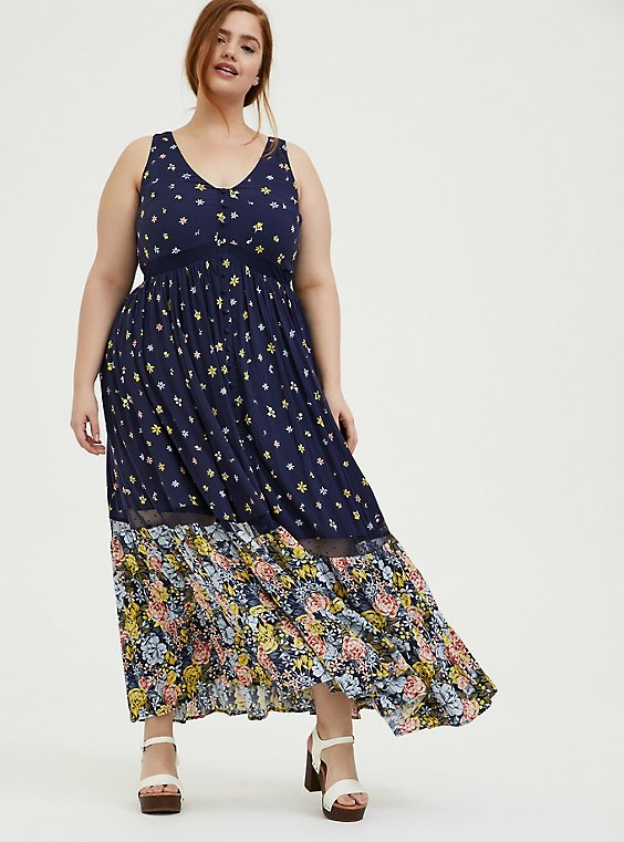 Navy Mixed Floral Challis Button Maxi Dress, , hi-res