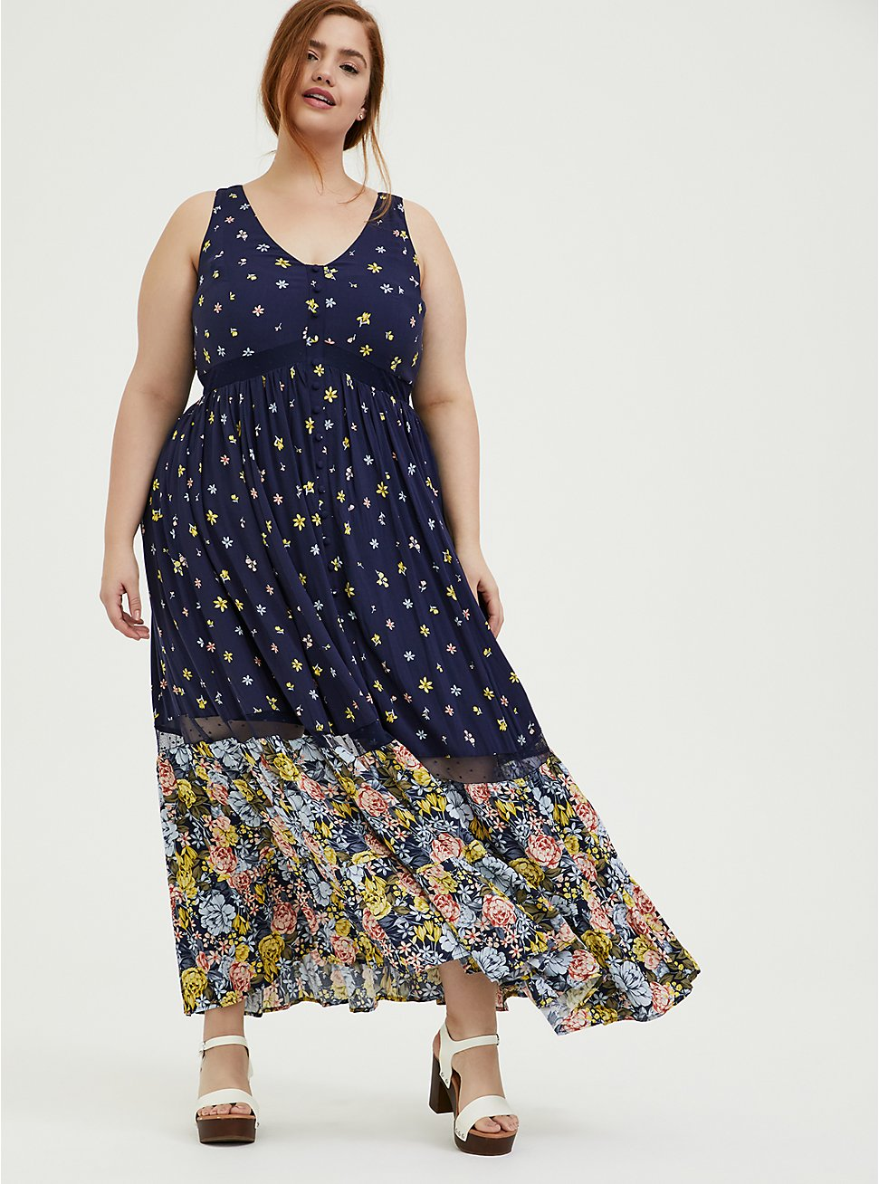 Navy Mixed Floral Challis Button Maxi Dress, FLORALS-NAVY, hi-res