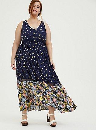 Navy Mixed Floral Challis Button Maxi Dress, FLORALS-NAVY, hi-res