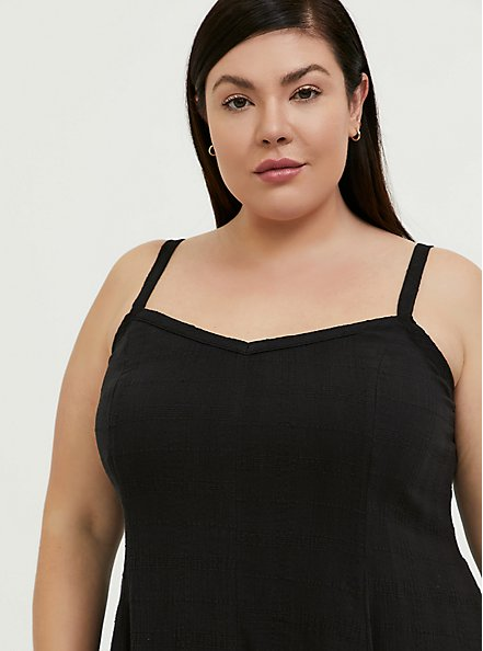 Black Textured Trapeze Maxi Dress, DEEP BLACK, alternate