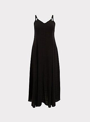 Black Textured Trapeze Maxi Dress, DEEP BLACK, flat