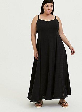 Black Textured Trapeze Maxi Dress, DEEP BLACK, hi-res