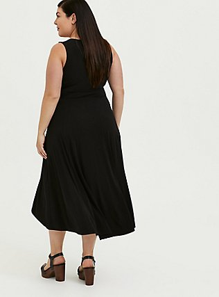 Black Studio Knit Tie Front Hi-lo Dress, DEEP BLACK, alternate