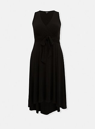 Black Studio Knit Tie Front Hi-lo Dress, DEEP BLACK, flat