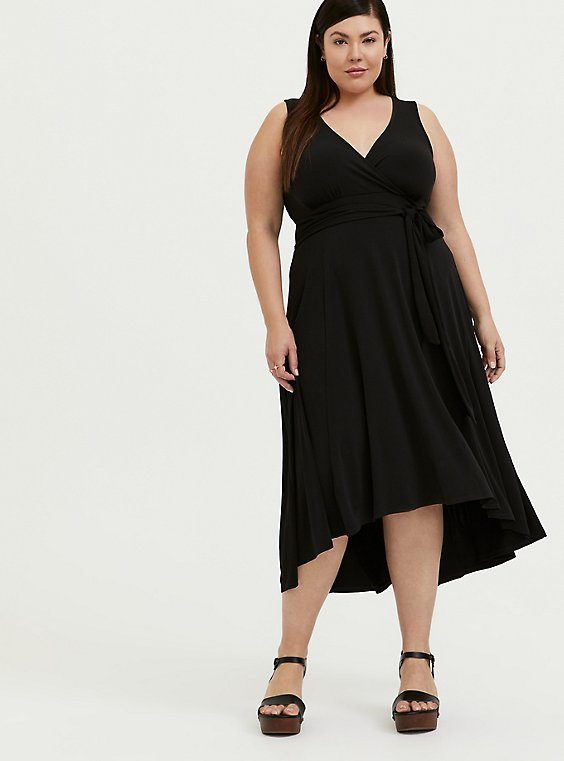 Plus Size Black Studio Knit Tie Front Hi-lo Dress, , hi-res