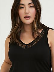Super Soft Black Lace Inset Tank, DEEP BLACK, alternate