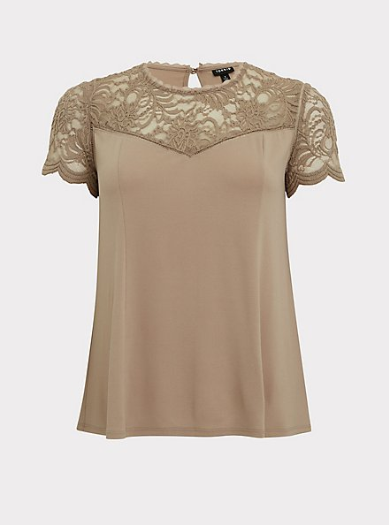 Taupe Studio Knit & Lace Top, ATMOSPHERE, hi-res