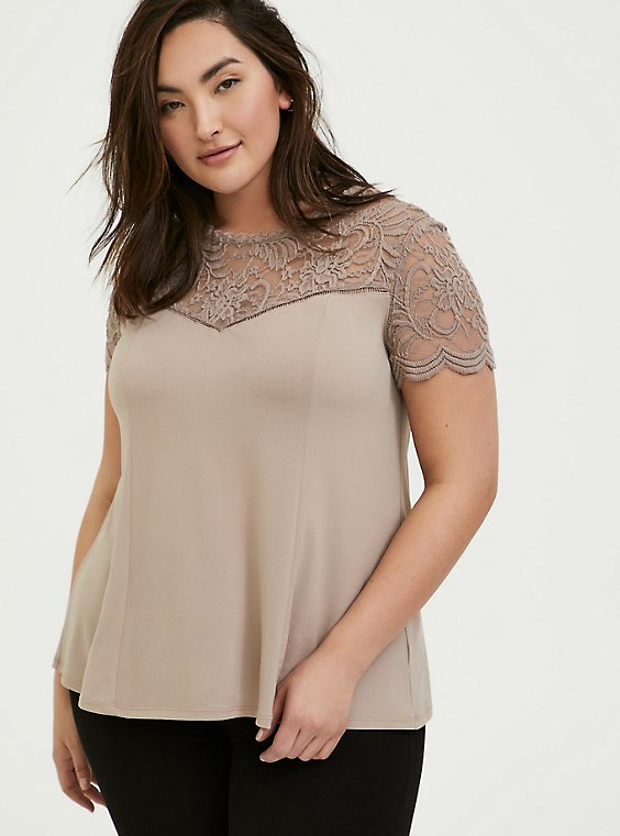 Plus Size Taupe Studio Knit & Lace Top, , hi-res
