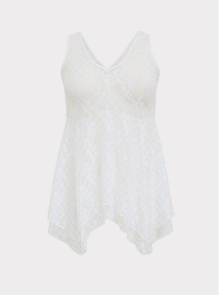 White Lace Handkerchief Double Layer Tank, BRIGHT WHITE, hi-res