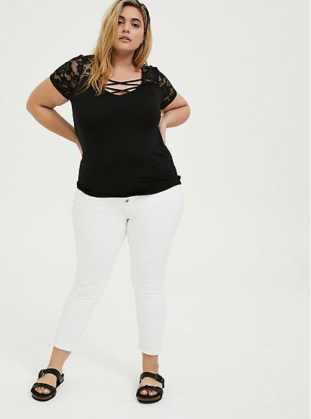 Plus Size Super Soft Black Lace Inset Lattice Top, DEEP BLACK, alternate
