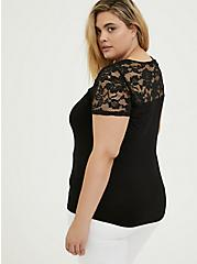 Super Soft Black Lace Inset Lattice V-Neck Tee, DEEP BLACK, alternate