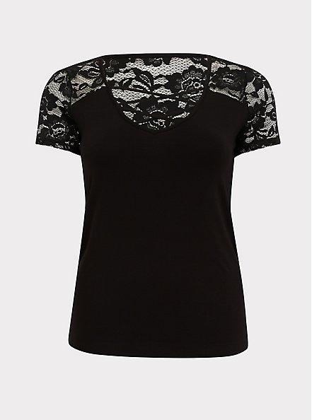 Plus Size Super Soft Black Lace Inset Lattice Top, DEEP BLACK, hi-res