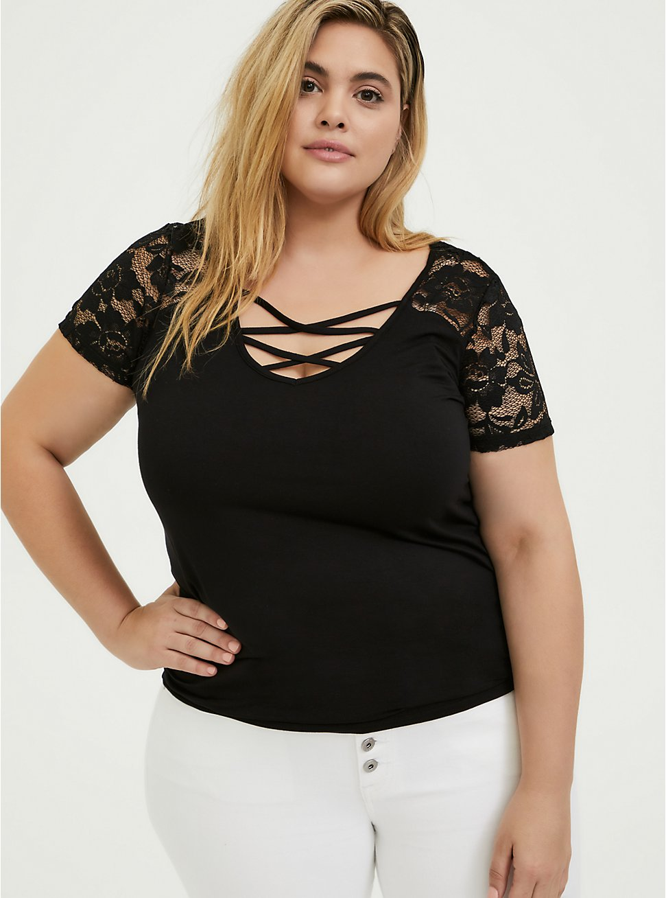 Super Soft Black Lace Inset Lattice V-Neck Tee, DEEP BLACK, hi-res