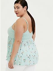 Mint Blue Floral Slub Jersey & Lace Babydoll Cami, FLORAL - GREEN, alternate