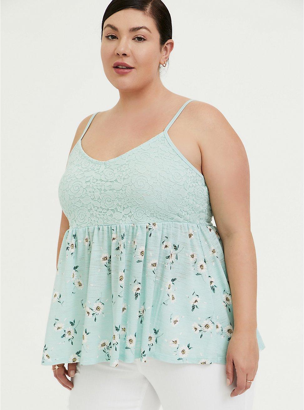 Mint Blue Floral Slub Jersey & Lace Babydoll Cami, FLORAL - GREEN, hi-res