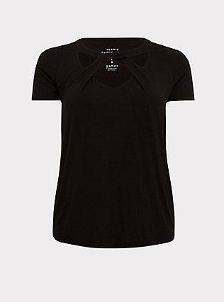 Plus Size Super Soft Black Cutout Twist Tee, DEEP BLACK, flat