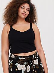 Black V-Neck Crop Foxy Cami, DEEP BLACK, hi-res