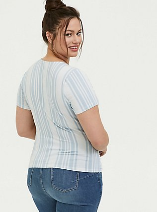 Super Soft Light Blue & White Stripe Surplice Midi Top, MULTI STRIPE, alternate