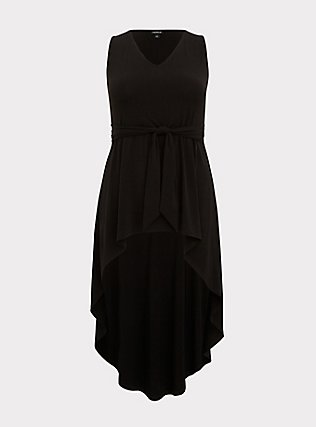 Black Studio Knit Tie Front Hi-Lo Top, DEEP BLACK, flat