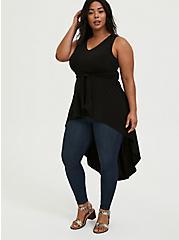 Black Studio Knit Tie Front Hi-Lo Top, DEEP BLACK, hi-res