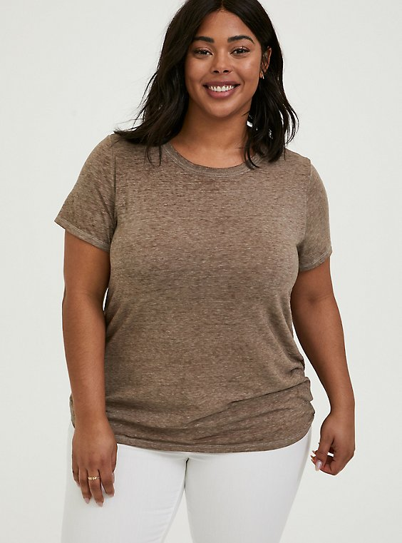Plus Size Classic Fit Crew Tee – Vintage Burnout Dark Taupe, , hi-res