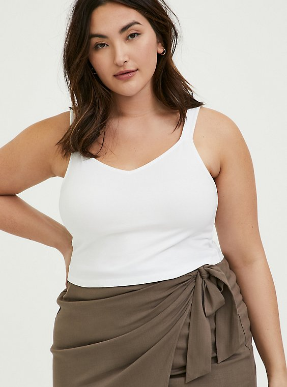 Plus Size White V-Neck Crop Foxy Cami, , hi-res