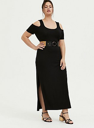Plus Size Super Soft Black Cold Shoulder Maxi Dress, DEEP BLACK, alternate