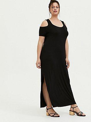 Plus Size Super Soft Black Cold Shoulder Maxi Dress, DEEP BLACK, hi-res