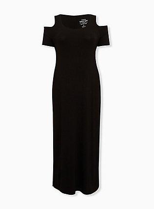 Super Soft Black Cold Shoulder Maxi Dress, DEEP BLACK, ls