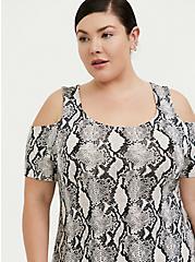 Super Soft Snakeskin Print Cold Shoulder Maxi Dress, ELECTRIC SNAKE, alternate