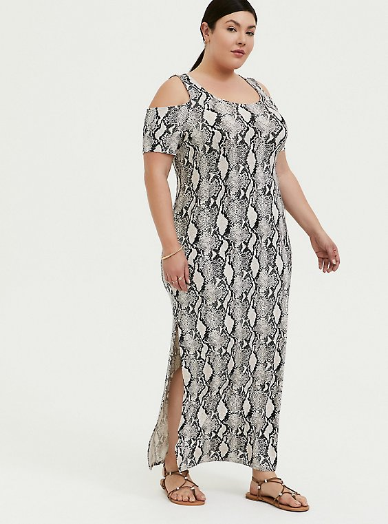 Plus Size Super Soft Snakeskin Print Cold Shoulder Maxi Dress, , hi-res
