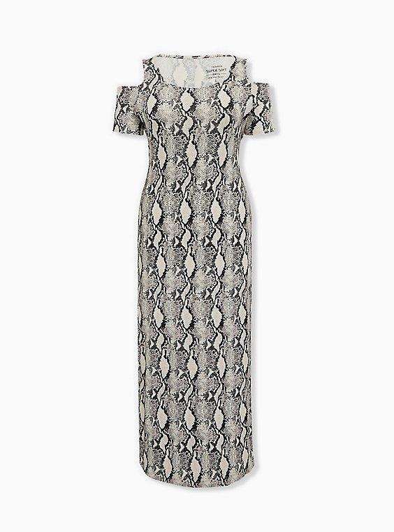 Plus Size Super Soft Snakeskin Print Cold Shoulder Maxi Dress, ELECTRIC SNAKE, ls