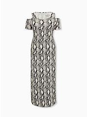 Super Soft Snakeskin Print Cold Shoulder Maxi Dress, ELECTRIC SNAKE, hi-res