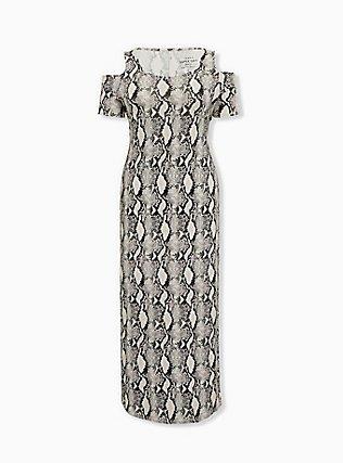 Super Soft Snakeskin Print Cold Shoulder Maxi Dress, ELECTRIC SNAKE, ls