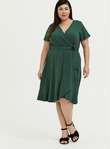 Green Slub Jersey Ruffle Mini Wrap Dress, GARDEN TOPIARY, alternate